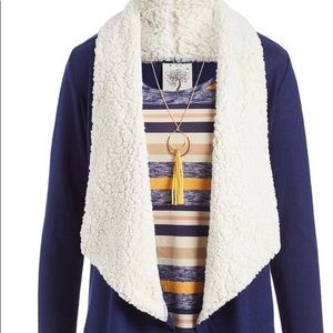 BLUE/WHITE OPEN CARDIGAN